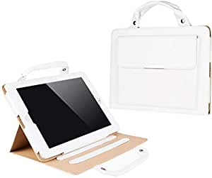 WHITE CARRYING LEATHER BAG UNIVERSAL STAND HANDBAG BUCKLE CASE COVER For iPad 4 3 2