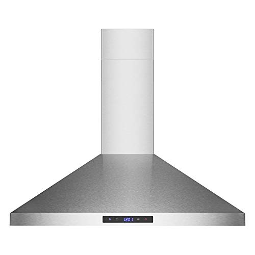 Golden Vantage 30 Wall Mount Stainless Steel Touch Control Range Hood Control Light Lamp Kitchen Vents