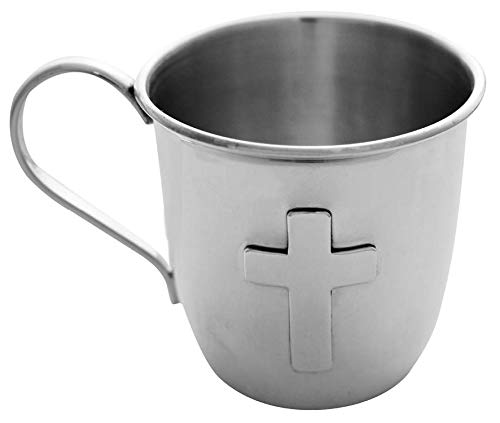Corbell Silver English Sterling Child's Cup with Cross in Presentation Box - Cups/sterling Baby