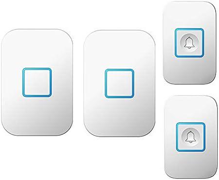 壁プラグインコードレスドアチャイム、1000フィート長距離ドアチャイムキット(2つのプッシュボタンと2つのレシーバー)52メロディー5つの音量レベルの防水電子ドアベル,白