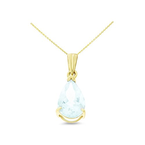 14K Yellow Gold 6 x 8 mm. Pear Shaped Genuine Natural Aquamarine Pendant With Square Rolo Chain Necklace - Genuine Square Aquamarine Pendant