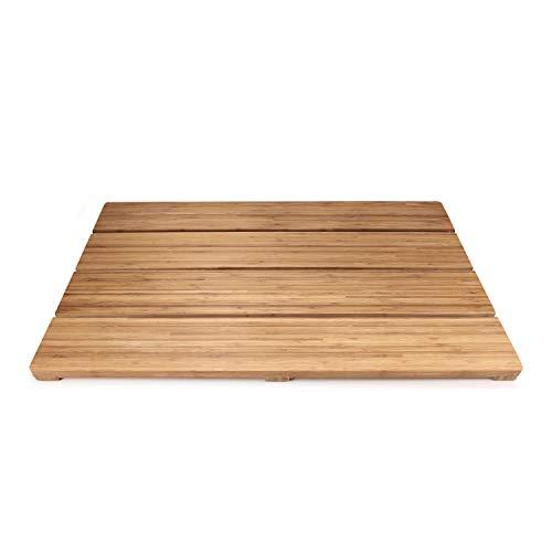 (BambooMN Brand - Spa Style Raised Bamboo Bathmat - Extra Large Rectangle)