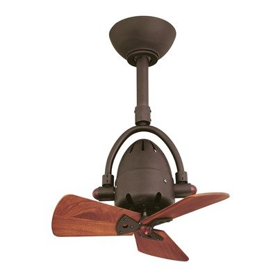 (Diane Oscillating 3 Wooden Blade Ceiling Fan with Remote Finish: Polished Chrome)