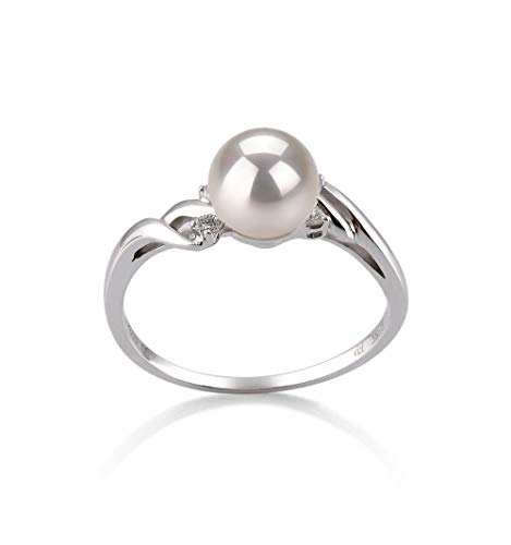 Andrea White 6-7mm AAA Quality Japanese Akoya 14K White Gold Cultured Pearl Ring For Women - ()