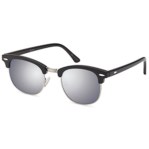 ALTEC VISION Vintage Retro Classic Half Frame Horn Rimmed Sunglasses with Polycarbonate - Under Sunglasses Sunglasses