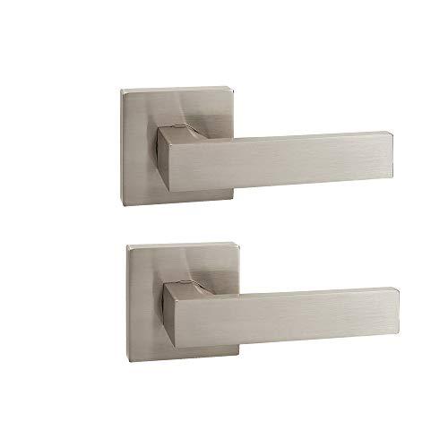 2 Pack Probrico Square Interior Door Lever Door Knob Door Handle Lock Half Dummy Keyless Door knobs Door Satin Nickel