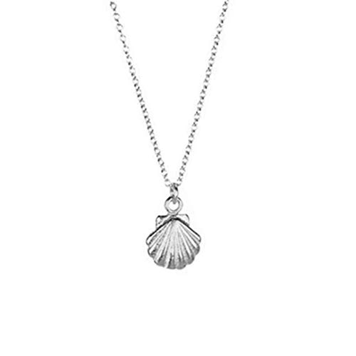 Puka Shell Scallop Pendant Necklace Adjustable Sea Marine Fairy Tale Small Shell Choker Necklace for Women Men Girls Jewelry Gift - Pendant Shell Scallop