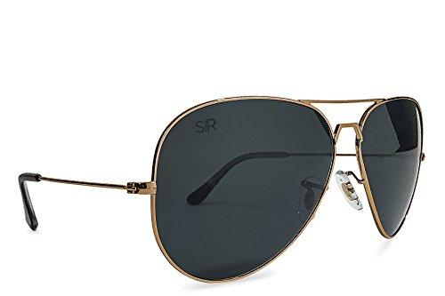 Amazon.com: Shady Rays Aviator Elite Polarized Metal Sunglasses Black Gold- Small: Clothing