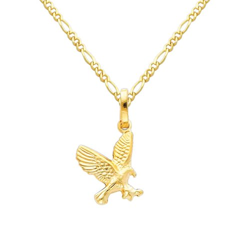 Gold Flying Eagle Charm - Wellingsale 14k Yellow Gold Polished Flying Eagle Charm Pendant with 1.6mm Figaro Chain Necklace - 22