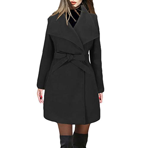 Pocket Moda Nero Giacche Blends Blend Ladies Belt Da Streetwear Bow Donna Cotton Slim Collar Tie Elegant Big Solid Coat Fangcheng wqS4xnfp4