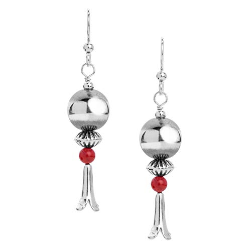 Sterling Silver Multi-Bead Dangle Earrings with Squash Blossom Drop - Choice of Gemstones (Red Coral)