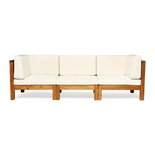 Great Deal Furniture Keith Outdoor Sectional Sofa Set | 3-Seater | Acacia Wood | Water-Resistant Cushions | Teak and Beige