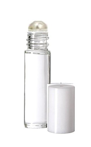 Aromatherapy Plain Glass Roll on Bottles - Slim Tall 5 Ml with Small Metal Steel Roller Ball and White Top - Set of 6 by SB Bath and Body (Simply - White The Plains Mall