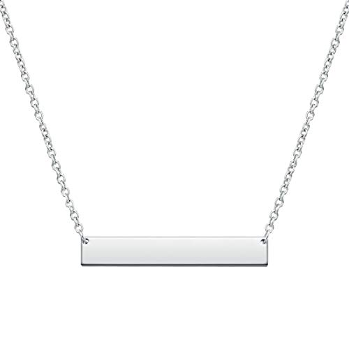 THREE KEYS JEWELRY 316L Stainless Steel Silver Tone Engravable Bar Pendant Necklace Jewelry for Womens and Girls (16