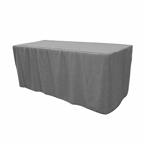 Your Chair Covers - 6 ft Polyester Fitted Tablecloth - Gray, Premium Quality