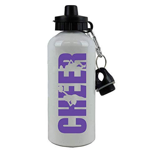 - Cheer Cheerleading Aluminum White Finish 20-Ounce Sport Water Bottle, 2 Lids (Purple)