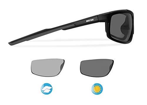 Bertoni P180FTA Sports Photochromic Sunglasses Cycling Ski Running Golf - Antifog Lens - Adjustable Nose - Sunsensor Glasses - Tr90 Durable Frame - Mat Black - Photochromic Polarized