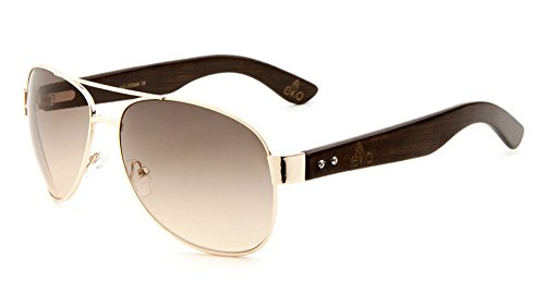 EKO Large Aviator Sunglasses Wooden Temples Metal Frame (Amber Gradient Lens/Gold Frame/Dark Tone Wood, 60)