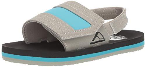 (Reef Boys AHI Slide Sandal, Grey/Blue 910 M US Little Kid)