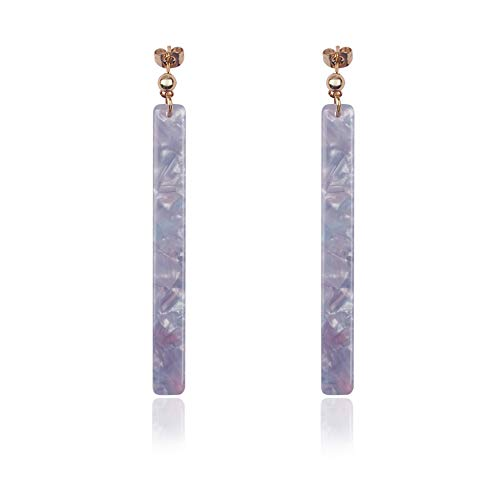 Acrylic Resin Dangle Earrings for Women and Girls Shell Hoop with Floral Tortoise Leopard Lightweight Triangle Long Bar (Light-B-Purple) (Bar Floral)