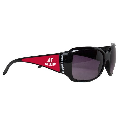 Austin Peay Ladies Black Rhinestone Sunglasses 'AP Austin Peay Governors - Official Athletic Logo' by CollegeFanGear