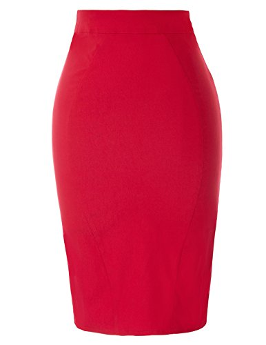 Body Belle 2 Casual Femmes GF614 Jupes Poque Moulantes Vintage Stretch Solid 641 Rouge nqIZTq