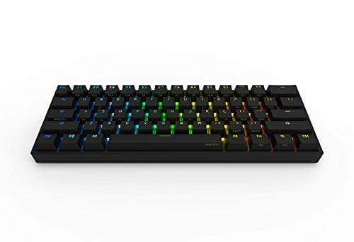 Anne Pro 2 Mechanical Gaming Keyboard 60% True RGB Backlit - Wired/Wireless Bluetooth 4.0 PBT Type-c Up to 8 Hours Extended Battery Life, Full Keys Programmable by Obins (Gateron Blue, Black)