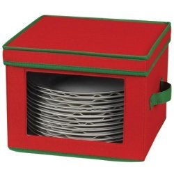 Household Essentials Holiday Dinnerware Storage Chest for Dinner Plates, Red with Green Trim