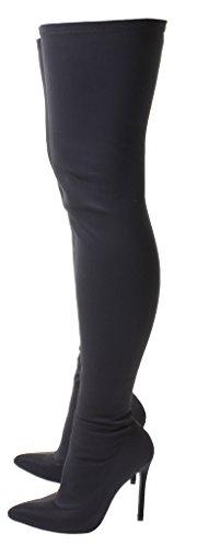 Damen Über das Knie Lang Oberschenkel hoch Hacke Stiletto Spitz Punkt LYCRA STRECKEN Elastisch Schuhe Breite Groß/Dünn Passform Schlank Stiefel Schwarz Rot Schwarz