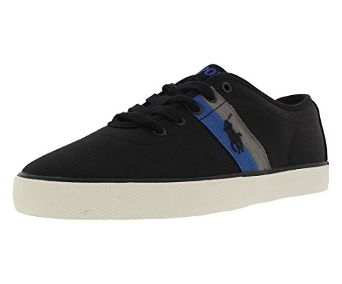 Polo Ralph Lauren Men's Halford Fashion Sneaker, Polo Black, 8 D US - Polo Sport Shoes