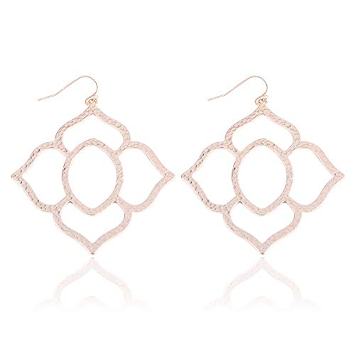 Filigree Metallic Embellished Cut-Out Drop Earrings - Floral, Petal Lace (Orchid - Rose Gold)