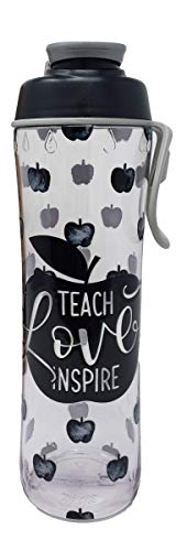 50 Strong Teacher Water Bottle - 24 oz. BPA Free for Teachers - Give Bottles As Thank You Gifts - Show Appreciation for Teachers - Easy Carry Loop - Made in USA (Teacher Apples, 24 oz.)