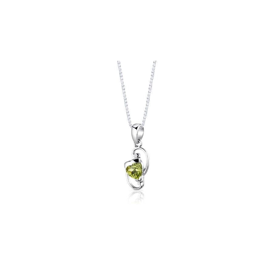 Peridot Pendant Earrings Necklace Set Sterling Silver Heart Shape 1.75 Carats