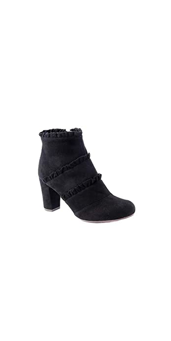 732a04aa1a62 Chie Mihara Black Suede Ankle Boot with Ruffles Details (38