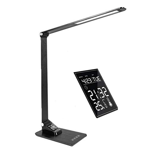 (LED Desk Lamp Eye-Caring Table Lamp with USB Charging Port, 3 Lighting Mode, 5 Level Dimmer, LCD Display Touch Control Snooze Mode with Temperature and Humidifier for Study, Reading, Office,)