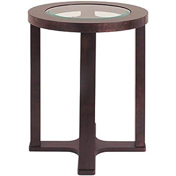 Amazon Com Marion Modern Dark Brown Round Chairside End