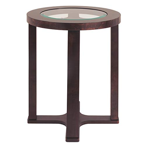 (Marion Modern Dark Brown Round Chairside End Table with Glass Top)
