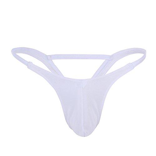 (IWEMEK Men's Sexy Lingerie Bikini G-String Thongs Low Raise Underwear See Through Bulge Pouch Jockstraps Briefs Shorts Swimwear Inverted Triangle Rear)