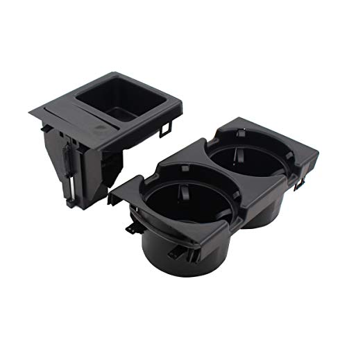 NewYall Black Front Center Console Drink Cup Holder & Coin Tray Box (Bmw 323i Cup Holder)