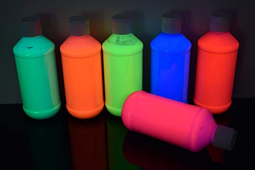 DirectGlow 8oz UV Blacklight Reactive Fluorescent Acrylic Paints (6 Color Neon Assortment) ()