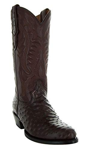 Soto Boots Men's Ostrich Print Cowboy Boots H7002(Brown, 11)