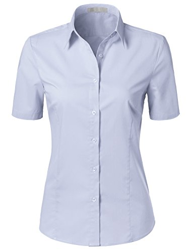 H2H Womens Versatile Short Sleeve Slim Fit Button Down Shirt Blouse Top Lilac - Coat Collar Spread