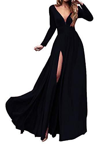 MariRobe Women's High Split Evening Dress V Neck Prom Gown Long Sleeve Party Gown US20