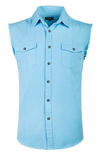 NUTEXROL Mens Sleeveless Denim/Cotton Shirt Biker Vest 2 Front Pockets Light Blue 3XL
