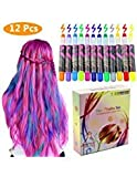 Philonext Hair Chalks Set - 12 Colorful Professional Waxy Hair Chalk Pens Non-Toxic
