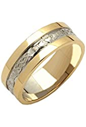 Claddagh Wedding Ring Wide Band 14K Two Tone Gold Mens