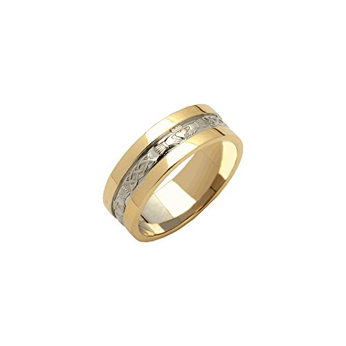 Mens Claddagh Wedding Ring Wide Band 14k Two Tone Gold Sz 12