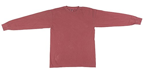 Comfort Kleuren Heren Ringspun Kleding Geverfd Lange Mouwen T-shirt (c6014) Crimson / Pgmdye