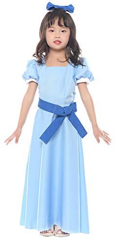 Wendy Costume Child (ROLECOS Womens Princess Dress Light Blue Maxi Dresses Halloween Cosplay)