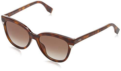 Fendi FF 0263 086 Dark Havana Plastic Sunglasses Gold Mirror Lens